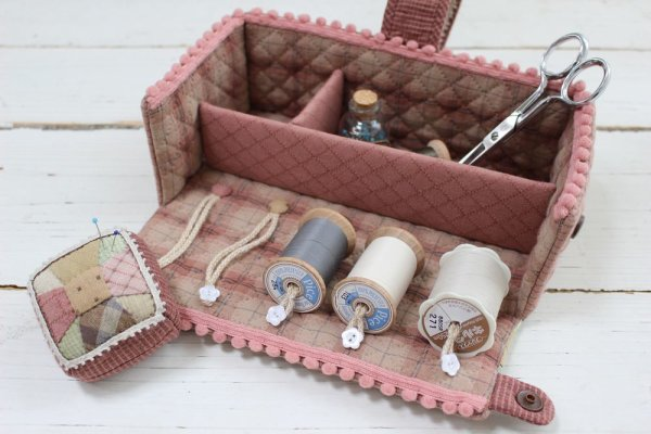 Photo1: Floral Sewing Box with Handle and Pincushion (1)