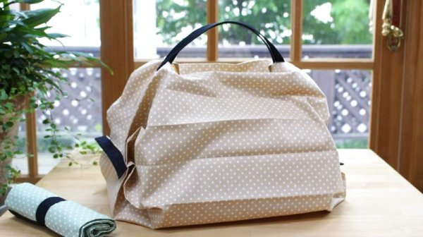 Photo1: Reusable Roll Up Shopping Bag - Set of 2 (Tax Excl.) (1)
