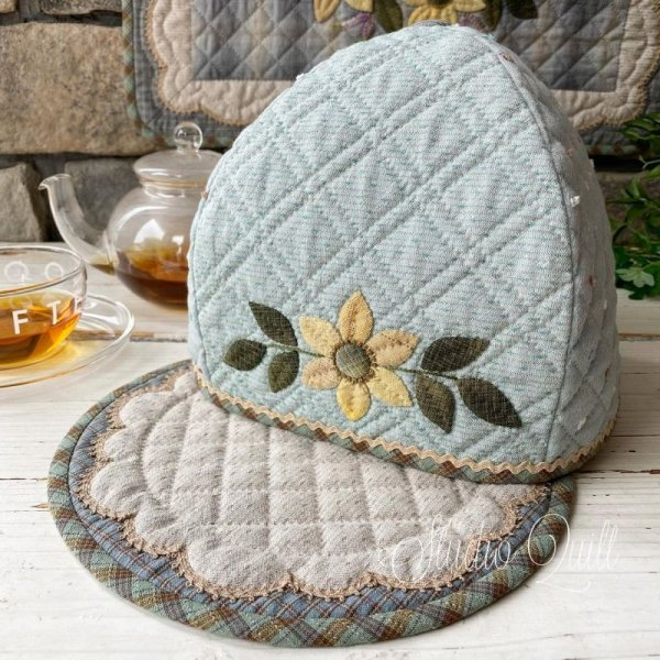 Photo1: Tea Cosy & Mat with Autumn Flowers  (1)